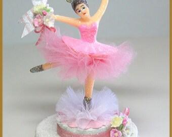 Vintage Pink Ballerina Cake Topper