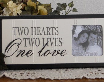 Two Hearts Two Lives One LOVE - Wedding Gift  Wooden Picture Frame - Home Decor / Wall Decor Photo Frame Sign Painted Black Chocolate Brown