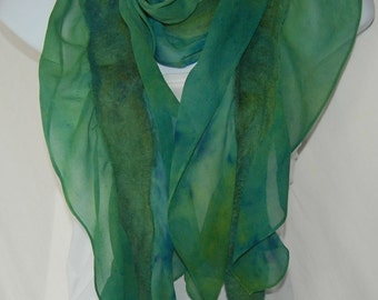 Hand Dyed Nuno Felted Chiffon Silk Scarf - Blue, green & yellowl chiffon and Felted Merino Wool extra-long