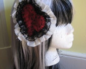 Black and white lace stitched heart (large) hair clip