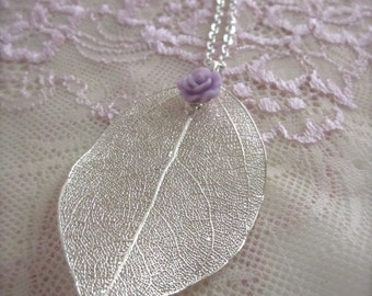 Leaf necklace Silver leaf necklace rose flower necklace gift for her Bridesmaid wedding jewelry Floral Jewelry Long necklace Dainty casual