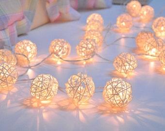 Handmade White Rattan ball string lights for