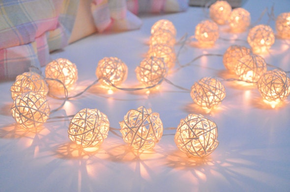 Custom Party String Lights : Handmade White Rattan ball string lights for