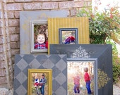 Grouping of Four Distressed Picture Frames, Two 8x10's, Two 5x7's