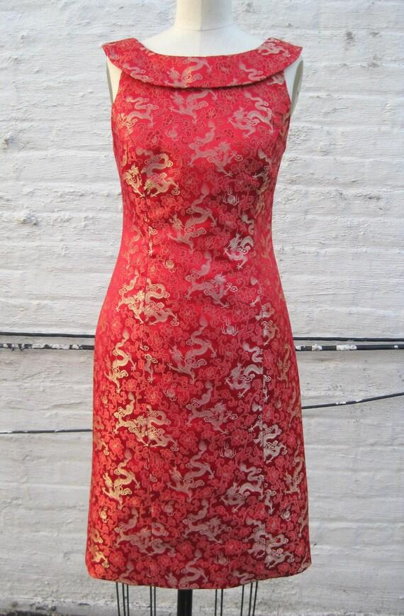 Gold dragon brocade roll collar retro sheath dress custom order only