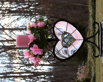 Pink Swirled Stained Glass Wrought Iron Heart Candle Holder Mother's Day