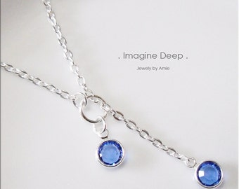 30%off SPECIAL Blue Lariat Necklace Y Necklace Silver Plated Sapphire Like Swarovski Crystal Necklace