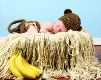 Crochet Monkey Hat and Diaper Cover - Photography Prop - Newborn - Baby - Infant