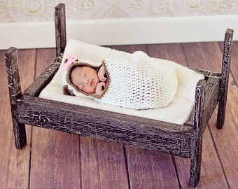 Crochet Hooded Bear Cocoon - Crochet Teddy Bear Cocoon - Newborn Photography Prop - Cocoon with Hood