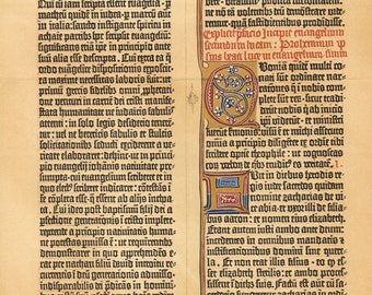 1903 Facsimile of the 42 Row Gutenberg Bible from 1455 Antique Chromolithograph