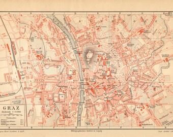 1890 Original Antique City Map of Graz