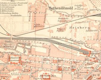 1905 Original Antique City Map of Kassel, Germany
