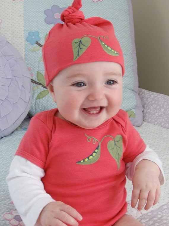 Sweet Pea Pink Baby GIrl Hand Painted  Organic Cotton Matching set of Bodysuit and Baby Hat, washing machine friendly