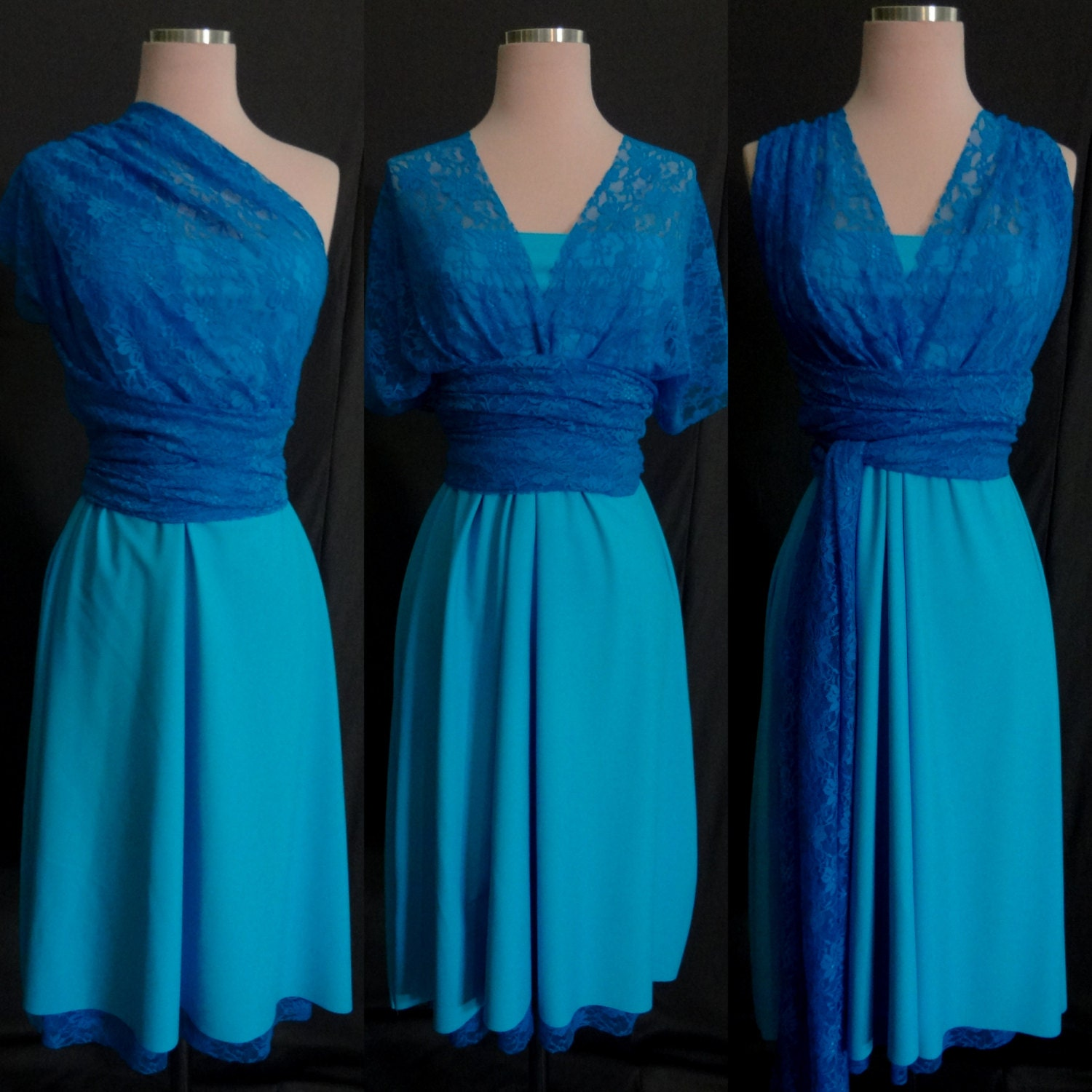 Turquoise Blue Lace Bridesmaids Infinity Dress 67 Colors