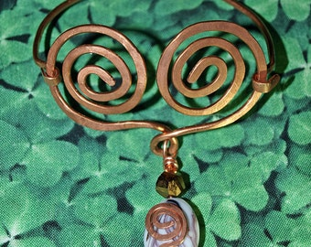 Copperwork Bracelet Celtic Heart with Purple and White Art Glass and Copper Crystal