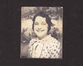 Polka Dot Blouse- Flapper Fashion- Woman in Photo Booth- 1920s Vintage Photograph