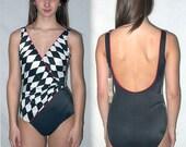 Hot spot ... Vintage 70s Sirena wrap swimsuit / 1970s bathing suit maillot / black harlequin / one 1 piece pc / deadstock unworn  .. S M