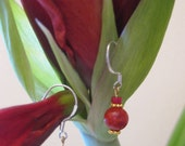 Stylish and Chic Miniature Red Coral Dangle Drop Earrings