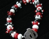 Beautiful Red, Black, White Lampworking Glass Beaded Bracelet