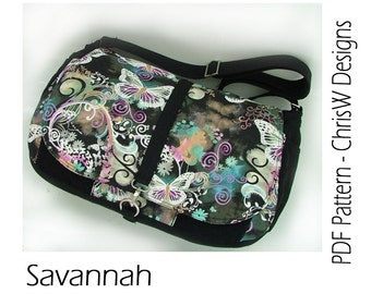 Messenger Bag sewing Pattern - Lots of pockets, great weekender, laptop bag or diaper bag. *Savannah by ChrisW Designs