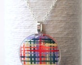 Primary Color Grid Plaid Round Glass Pendant