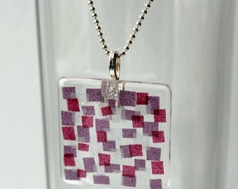 Washi Tape Modern Design on Glass Pendant Charm in Pink, Purple, and Silver