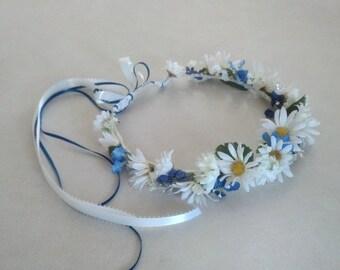 Daisy chain headband blue flower crown Bridal party hair wreath accessories Wedding flower hippie Bride halo headwreath, EDC music festivals