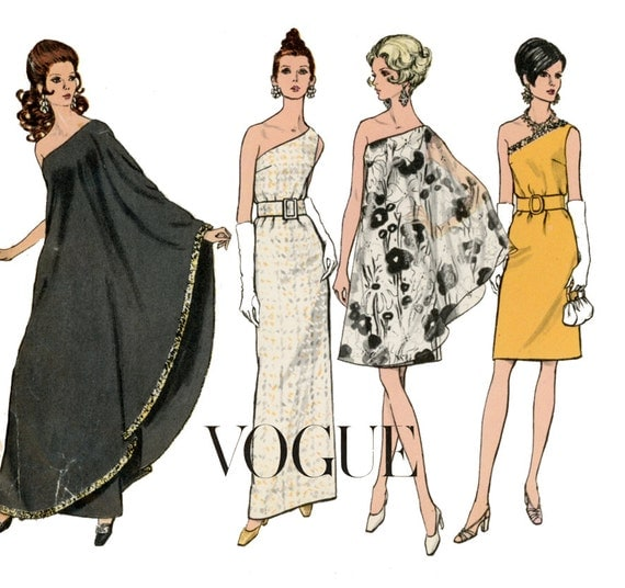 1960s Evening Dress Pattern Vogue 7528 Misses One Shoulder Formal or Knee Length with Drape RARE Womens Vintage Sewing Pattern Bust 36