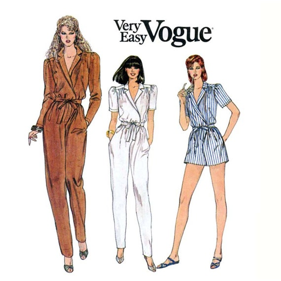 1980s Jumpsuit Pattern Vogue 8216 Misses Wrap Top Evening Jumpsuit or Day Romper Three Views Bust 34 Womens Vintage Sewing Pattern