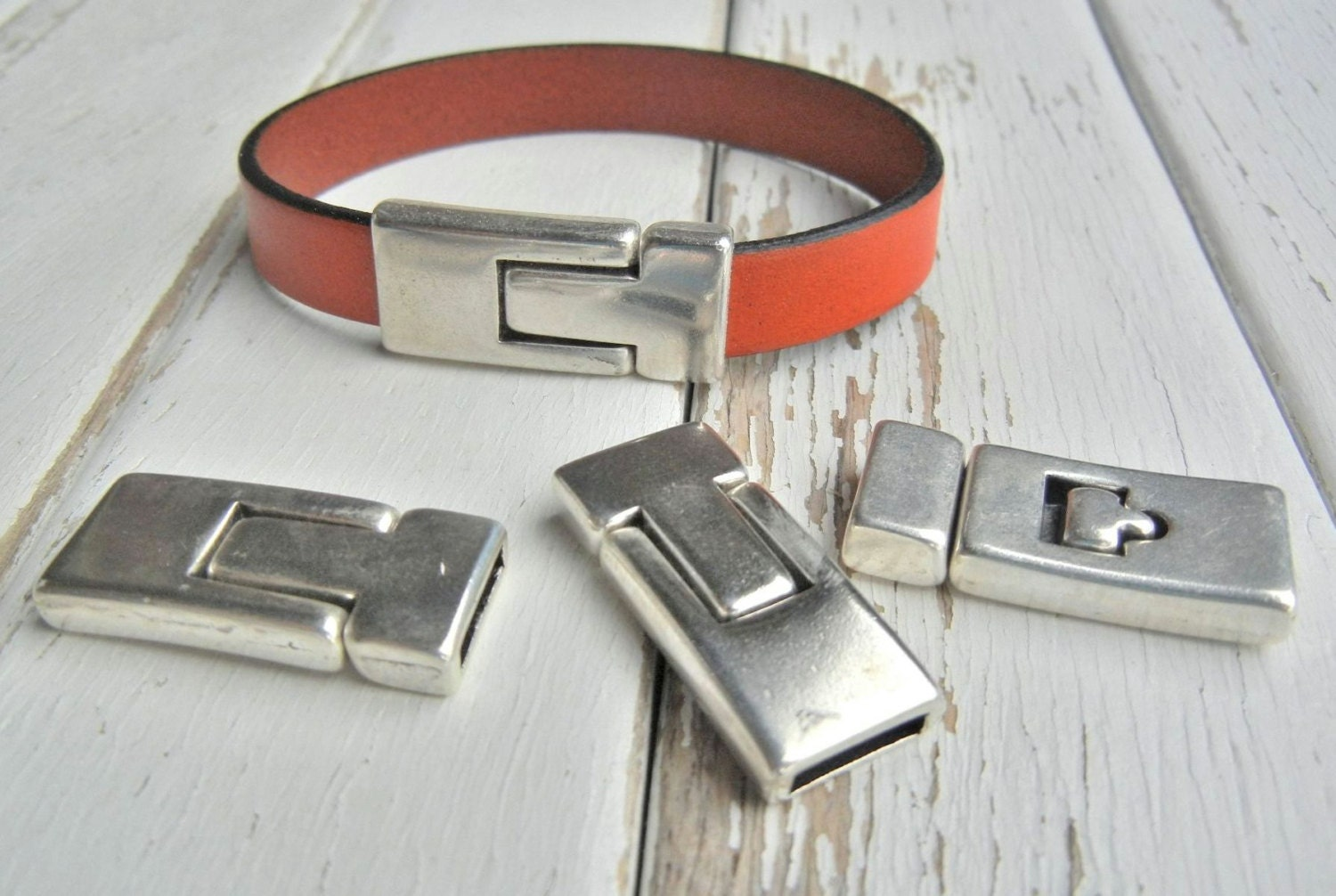 Leather Bracelet Clasp Leather Finding Antique SILVER