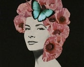 Floral Art, Pink and Black Art, Poppies, Butterfly Art, Avant Garde Art, Paper Collage Print, Surreal Portrait