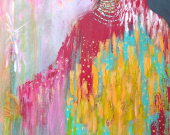 Native American inspired Virgen colorful painting