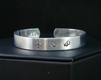 Cheerleader Peace Love Cheer Cuff - Hand Stamped Cuff in Pure Aluminum