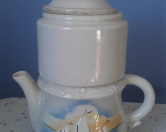 Vintage Porcelier Vitreous China Coffee Server - Sailboats 1940s