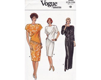 Vogue 9620 Size 10 Asymmetrical Dress gown long evening short length from 1986 Uncut Sewing Pattern