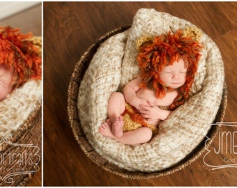 Baby Lion Hat WITH Diaper Cover-Matching 2 Piece Crochet Set-Perfect Newborn Photo Prop