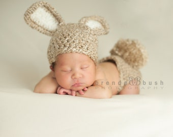 New Design-Baby Bunny Hat and Diaper Cover Crochet Set-Perfect for Newborn Photo Prop, Easter or Halloween costume