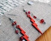 Red Lightning Bolt Earrings Crimson Beaded Jewelry Fun Accessory