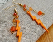 Orange Lightning Earrings Neon Summer Jewelry Bright Color Accessory Science Gift