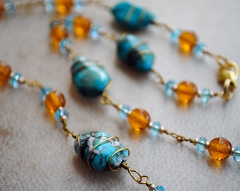 Beaded Necklace Gold and Blue Jewelry Turquoise Nugget Southwestern Boho Gypsy