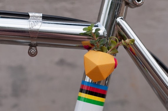 Geometric Bike Planter, in Bright Yellow: Wearable Planter