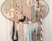 Hand Painted Wall Hanging Jewelry Organizer Taupe and Beige Flourish