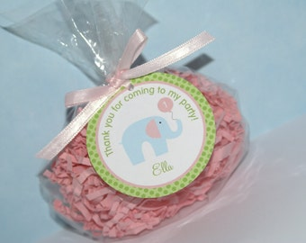 24 Little Blue Elephant Favor Tags, Pink, Blue & Green by The Party Paper Fairy