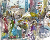India sketch,  Crowded Street in Mumbai, India 8x10 print of a watercolor sketch