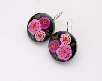 Dangle - Hand painted black floral