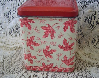 Vintage tin canister, red and white, maple leaves, shabby