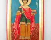 Greek orthodox icon St. Panteleimon, Martyr & Healer, doctor without silver, for those who had no money- Religious Original Folk Art, Icons