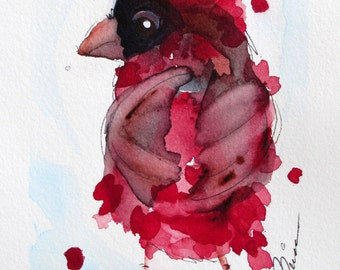 Cardinal Watercolor Art Print,  8 x 10 Bird Art