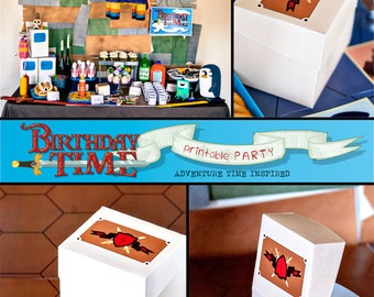 Adventure Time Favor Box - INSTANT DOWNLOAD - Printable Birthday Party - Card Wars