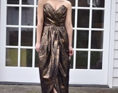 80's Metallic Brocade Strapless Tulip Skirt Gown (Size: Small)